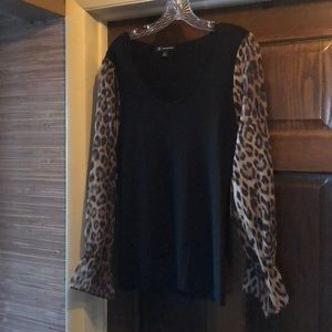 Inc vneck black sweater with leopard sleeves